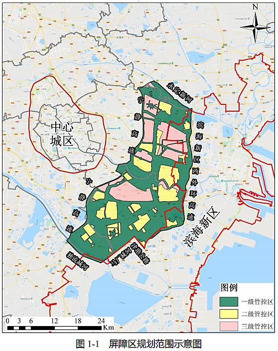 海河教育园区在天津市双城中间绿色生态屏障区的位置